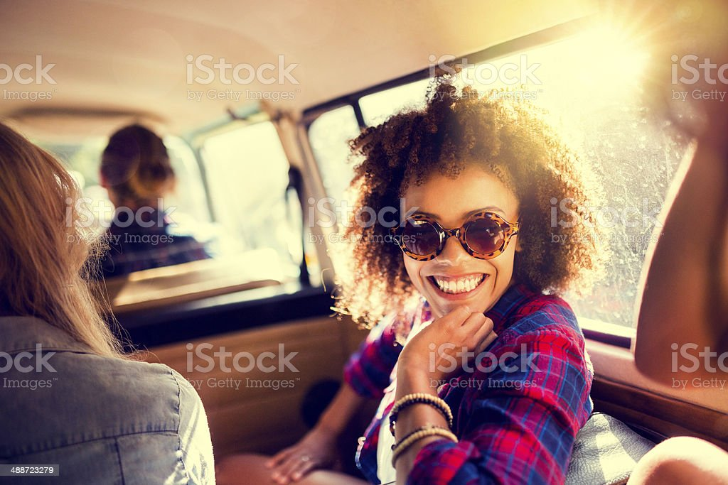 Camper van hipsters stock photo