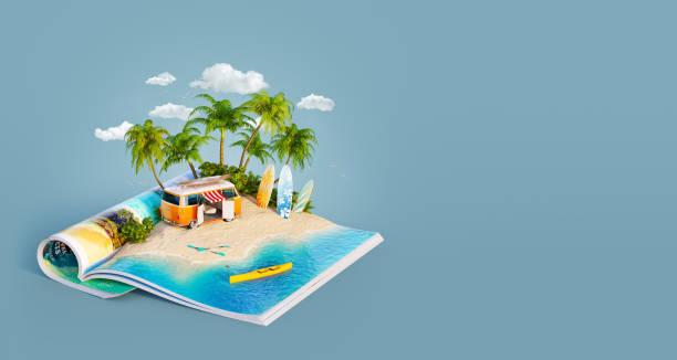 wohnmobil auf einem sandstrand - digital surfer stock-fotos und bilder
