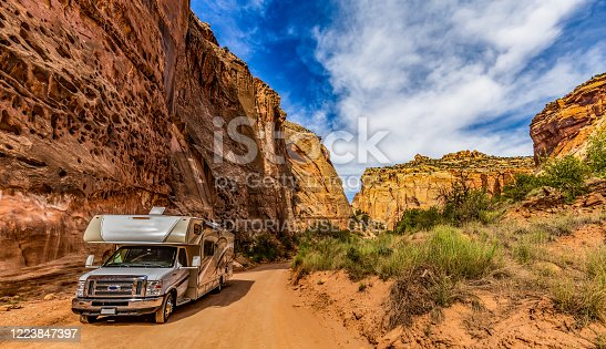 driving through US National Parks in motor home. camping