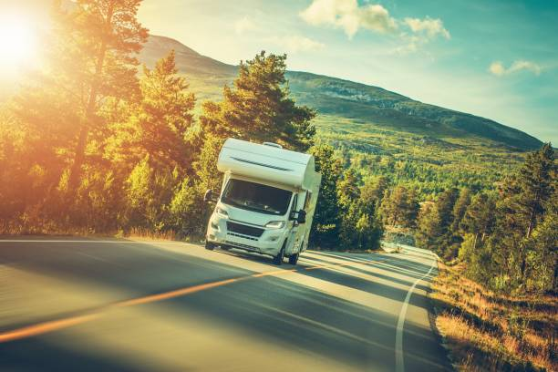 camper van summer trip - motorhome stock photos and pictures