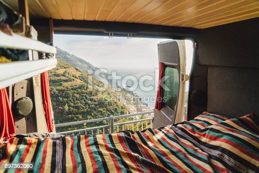 istock Camper van with view on Cinque Terre seaside  in Italy 897362060