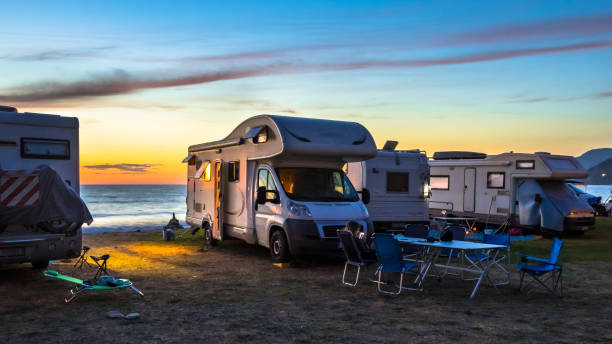Campers and Motorhomes stock photo