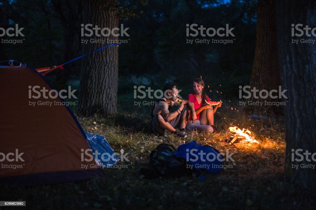 Campers at the forest stock photo
