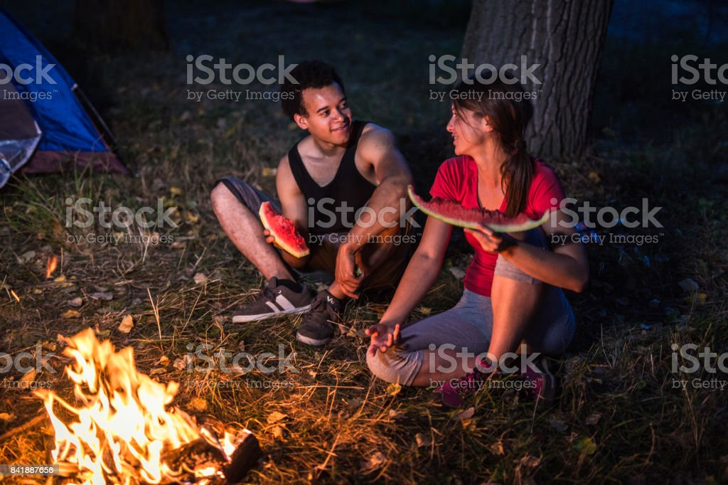Campers having a good time stock photo