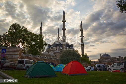 View of Selimiye Mosque and the campers in frontyard.