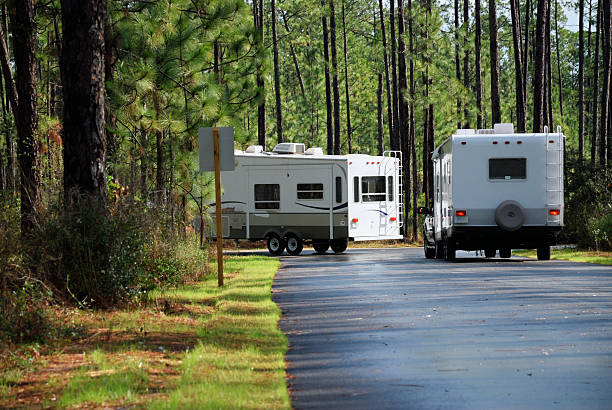 Campers turning corner stock photo