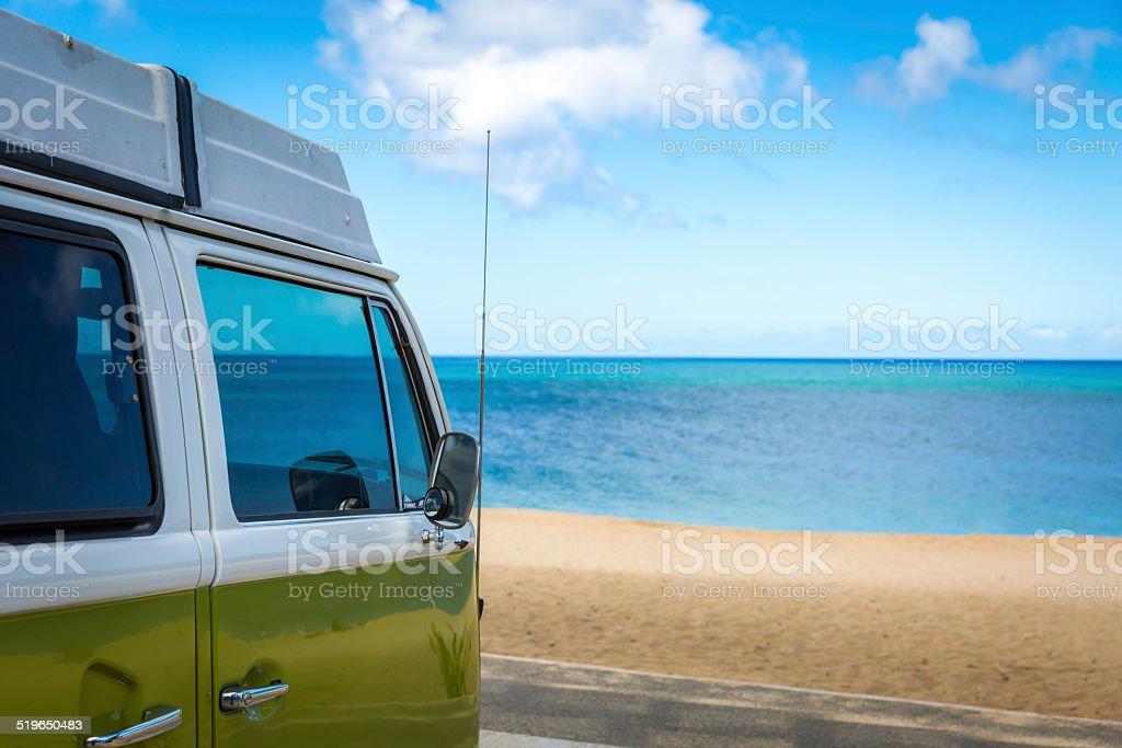 Campervan Along Sunset Beach, Oahu, Hawaii stock photo