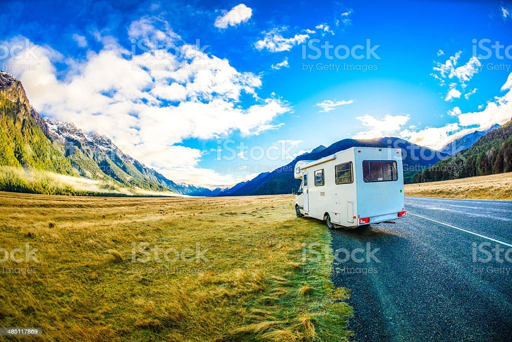 Campervan in New Zealand's South Island stock photo