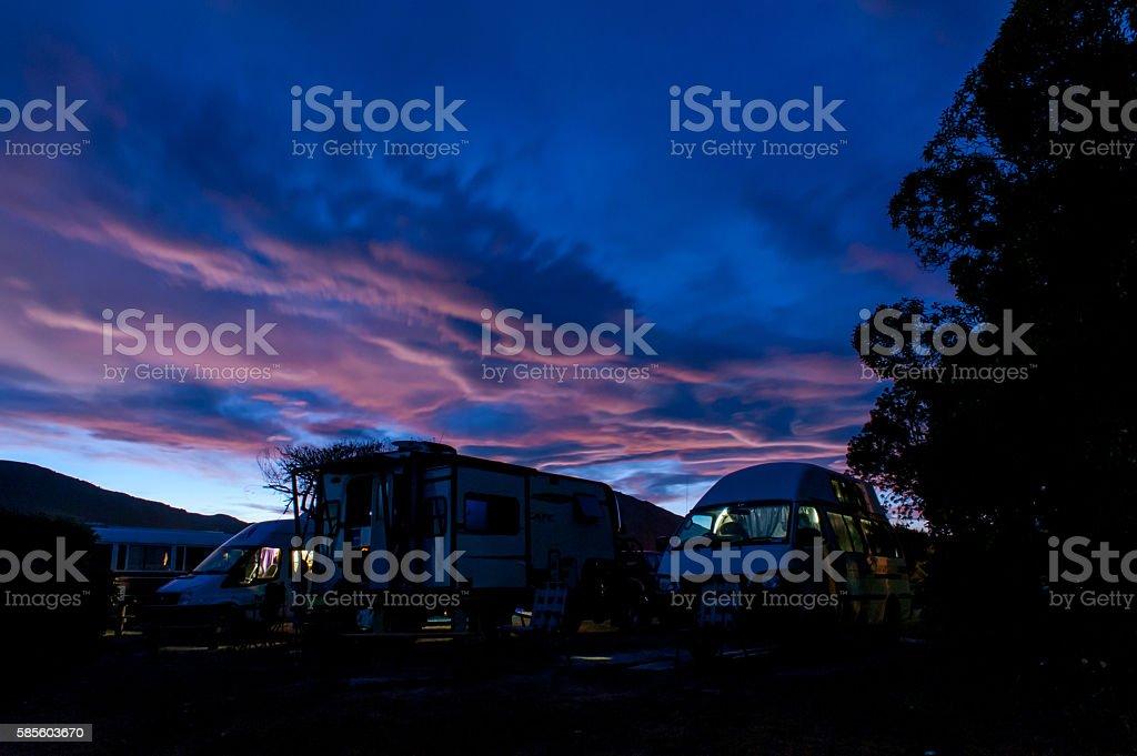Campervans at Peketa Beach, Kaikoura, New Zealand stock photo