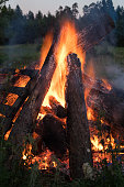 Campfire, Fire - Natural Phenomenon, Sunset, Bonfire, Summer, Campfire at twilight