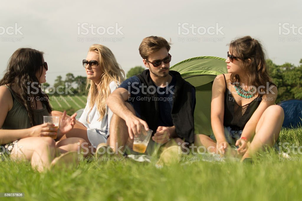 Campfire chatting royalty-free stock photo