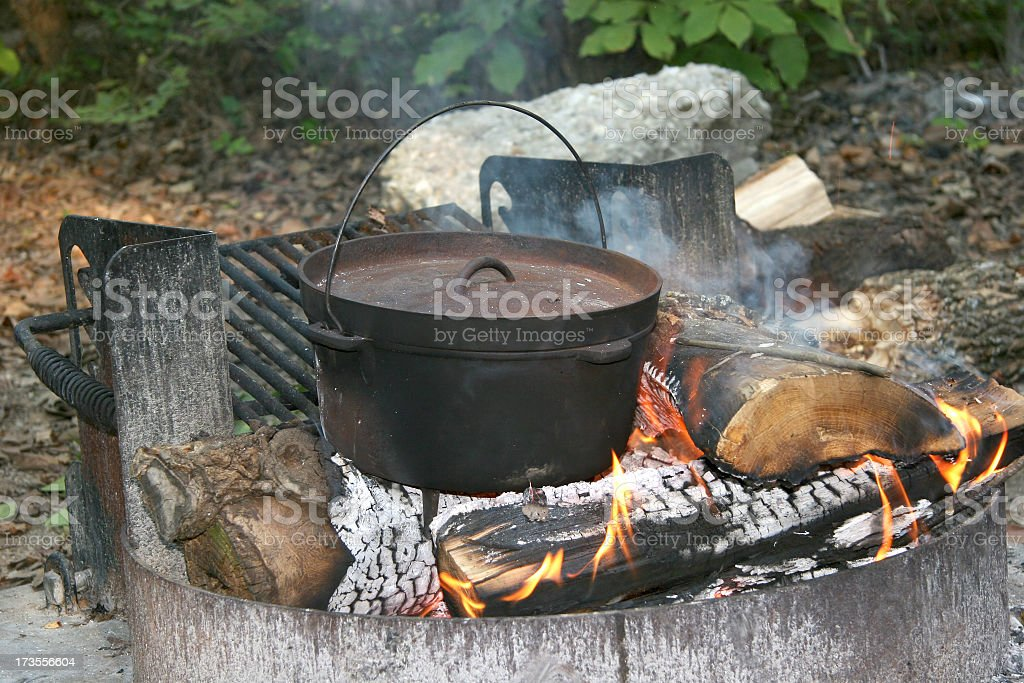 Campfire Cooking stock photo