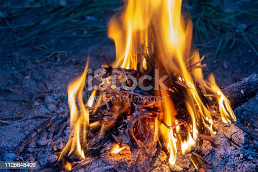 istock Campfire. Fire for cooking. 1125848409