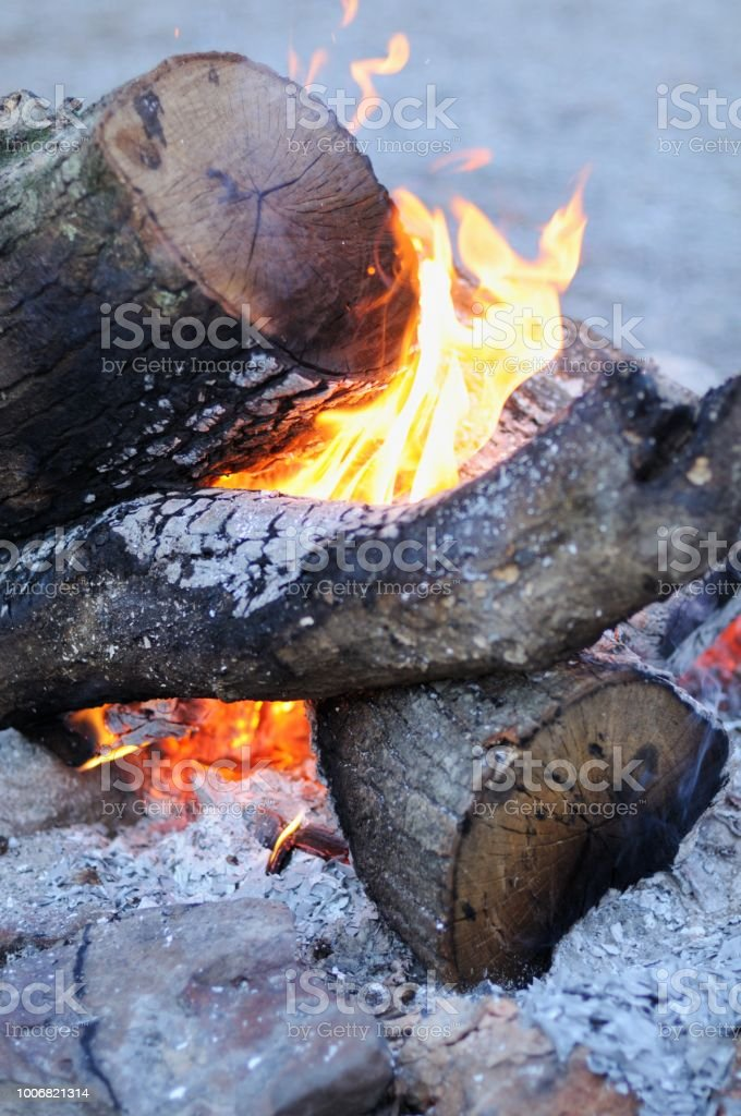 Close up of campfire with flames