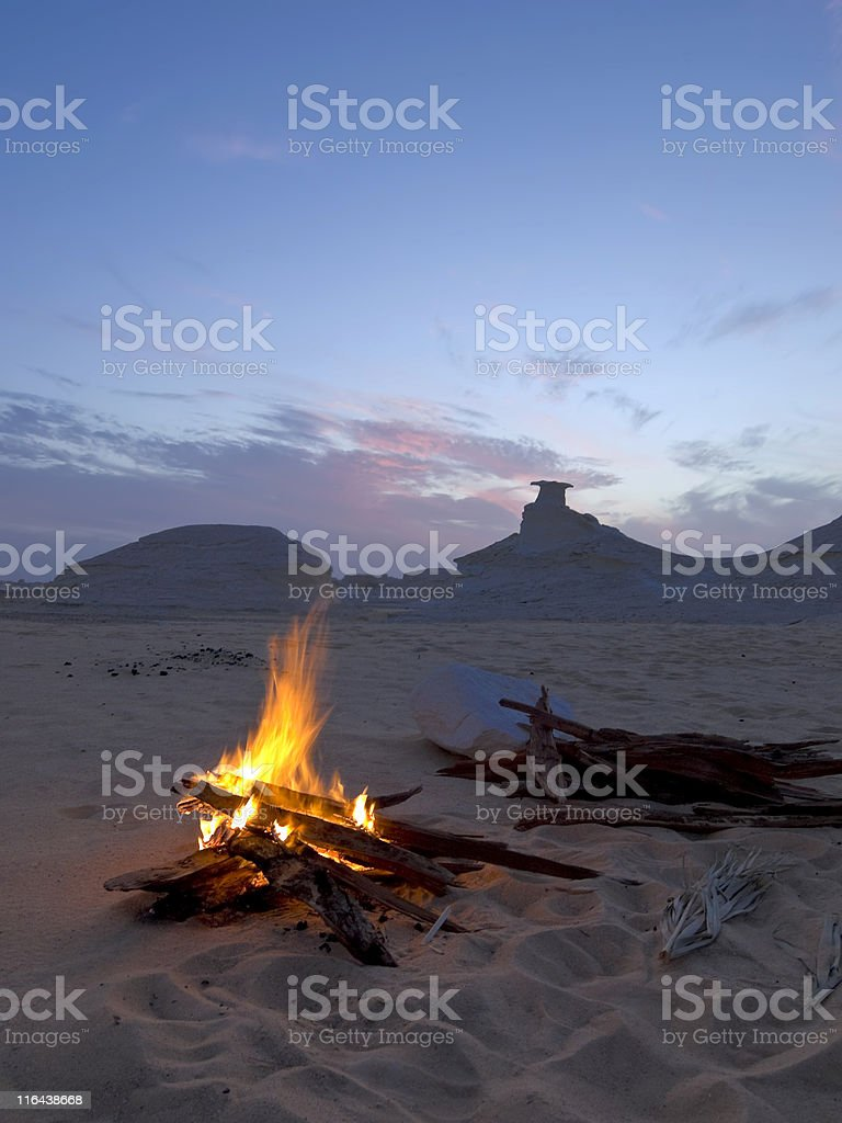 Campfire in the Desert royalty-free stock photo