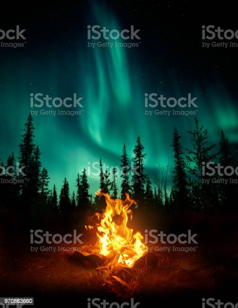 Photo of Campfire In The Wilderness With The Northern Lights
