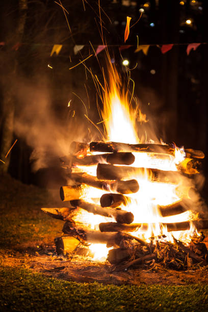 Campfire of traditional June festivities in countryside of Sao Paulo state - Brazil stock photo
