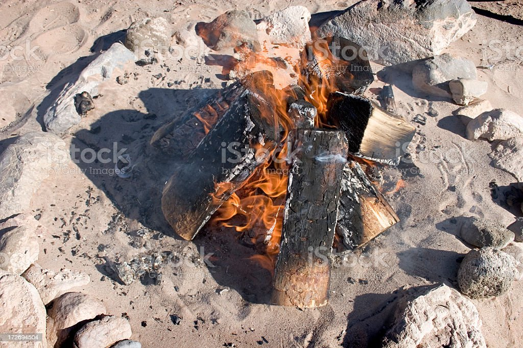 Campfire on beach during daytime.