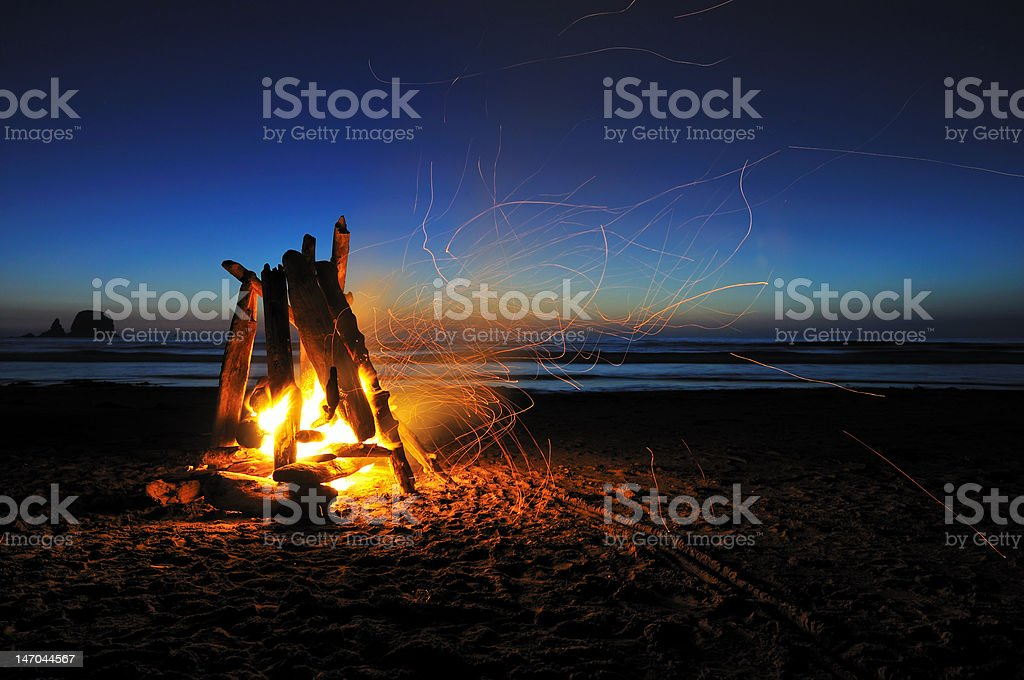campfire on shi-shi beach stock photo