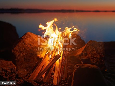 470521655 istock photo Campfire on the beach at night 522141510