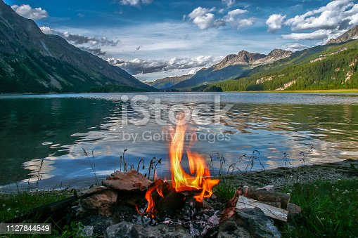 istock Campfire on the Maloja Lake, Switzerland, Europe 1127844549