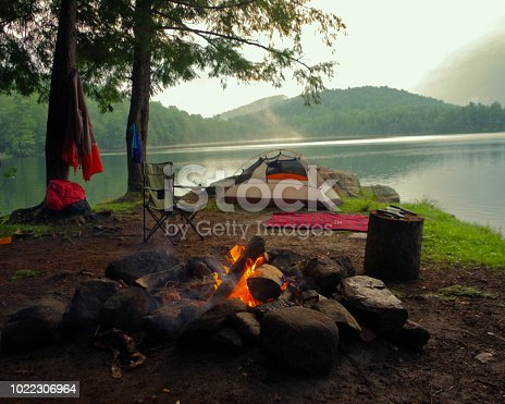 Summer Camp ground on a misty morning in upstate new york