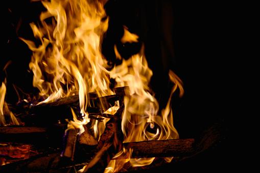 Campfire on black background