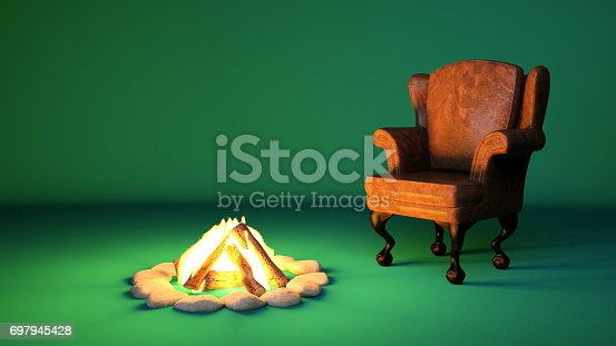 Campfire next to an old comfortable chair
