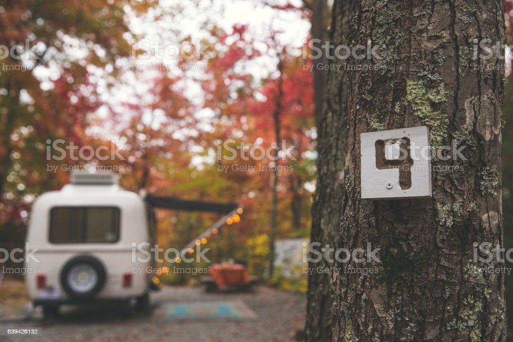 RV Campground in Fall stock photo