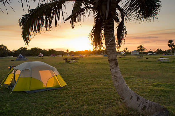 campground in sunset stock photo