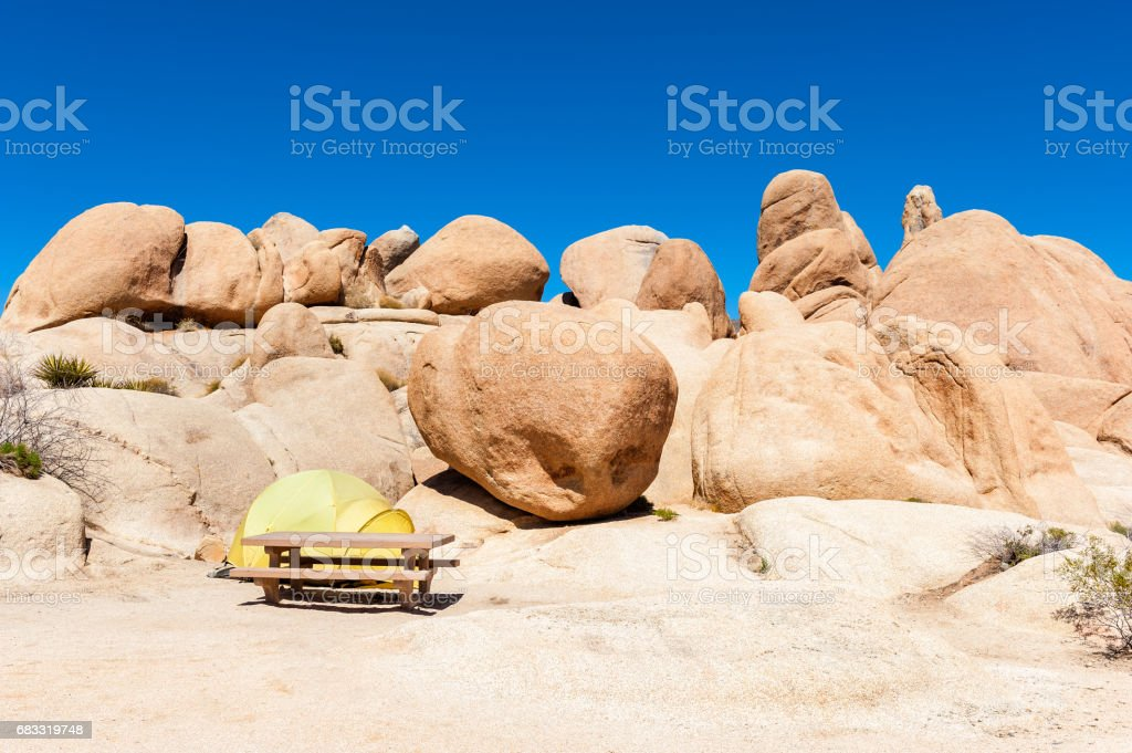 Campground with Picnic Table and Tent in Joshua Tree National Park royalty-free stock photo