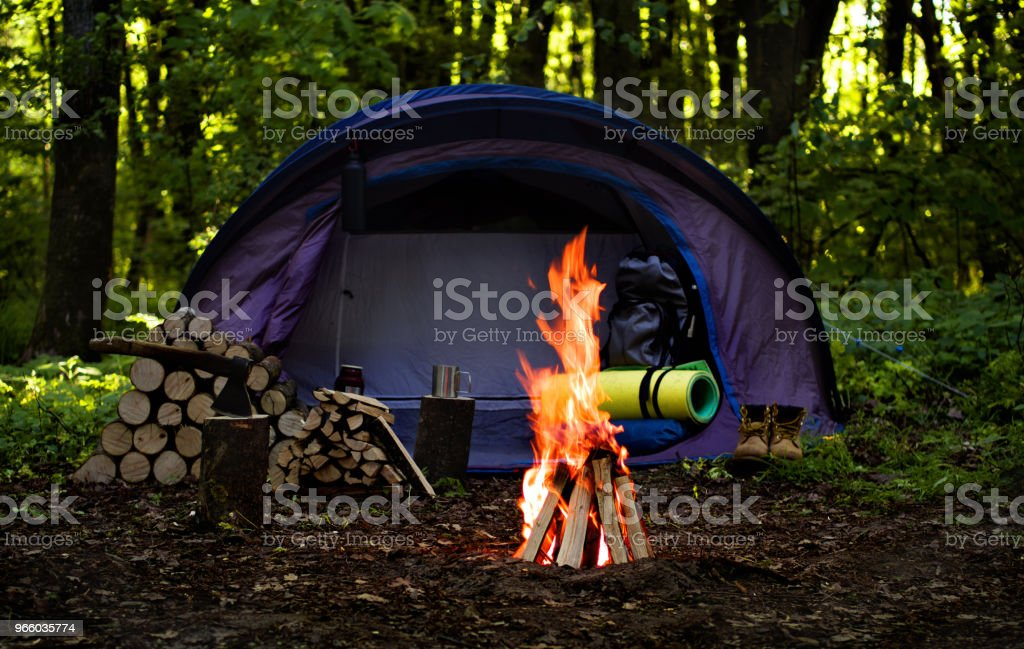 Camping Adventure. Tent Camping In The Deep Forest. - Royalty-free Adventure Stock Photo