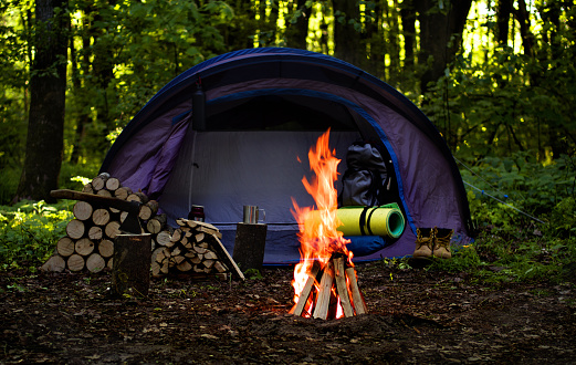 Camping Avontuur Tent Kamperen In De Deep Forest Stockfoto en meer beelden van Avontuur