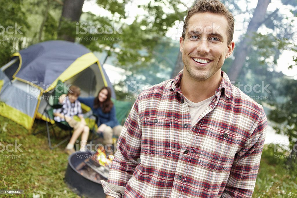 Camping and family bonding are important to him royalty-free stock photo