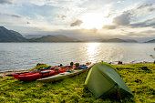 Camping and Kayaking in a Fjord in Norway during summer