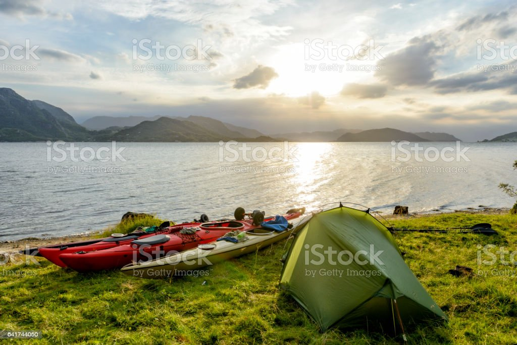 Camping and Kayaking in a Fjord in Norway during summer stock photo