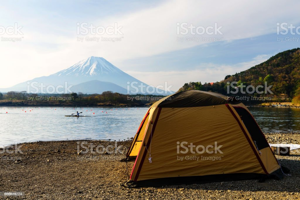 Camping and recreation activity at Shoji lake with Mt. Fuji view,...