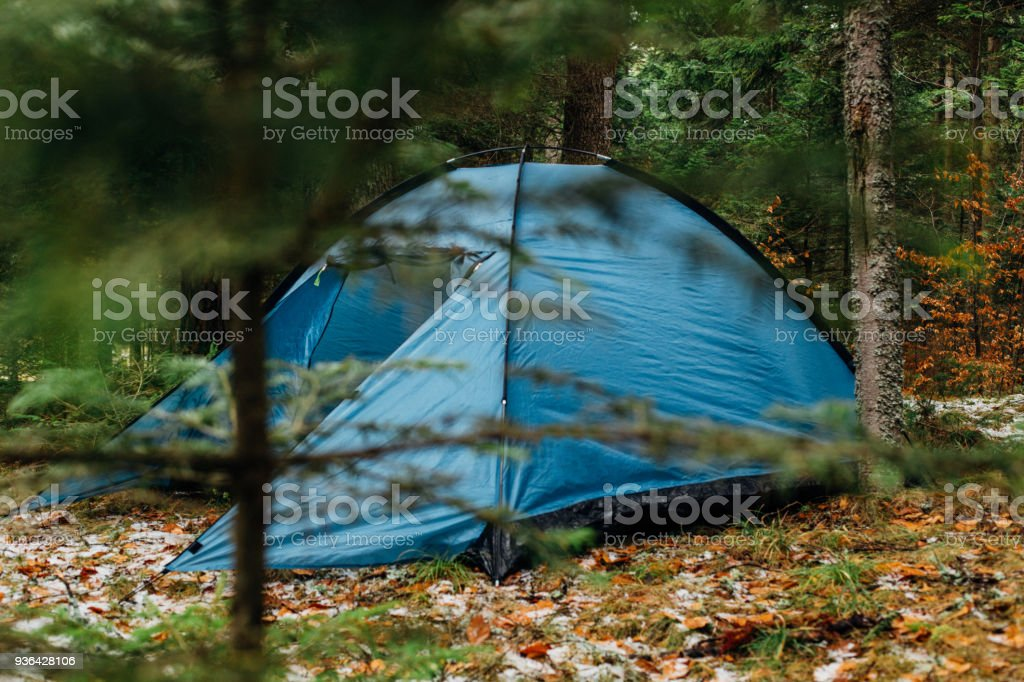 Winter camping site in the woods