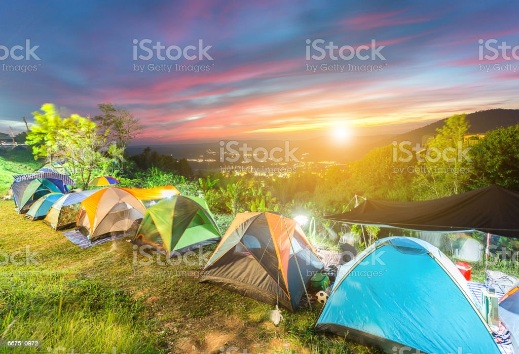 Camping and tent on top of mountain foto stock royalty-free
