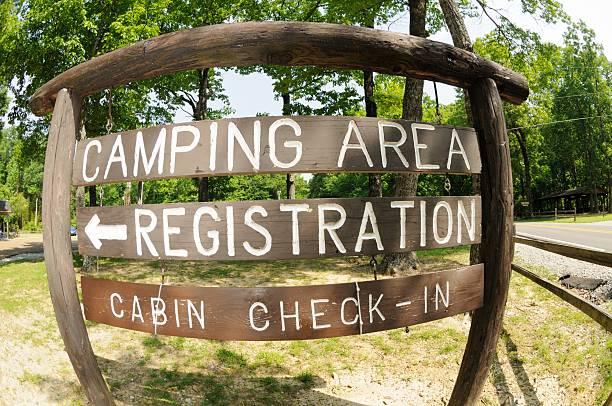 Camping area and cabin registration sign stock photo
