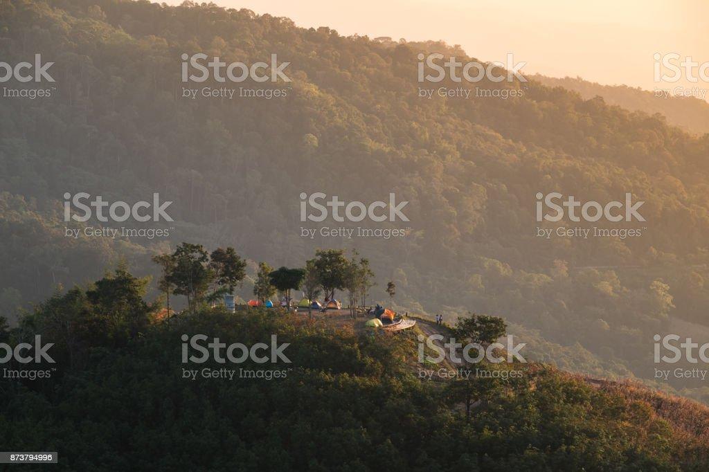 Camping area on hill at Doi samer dao, Nan province, Thailand. stock photo