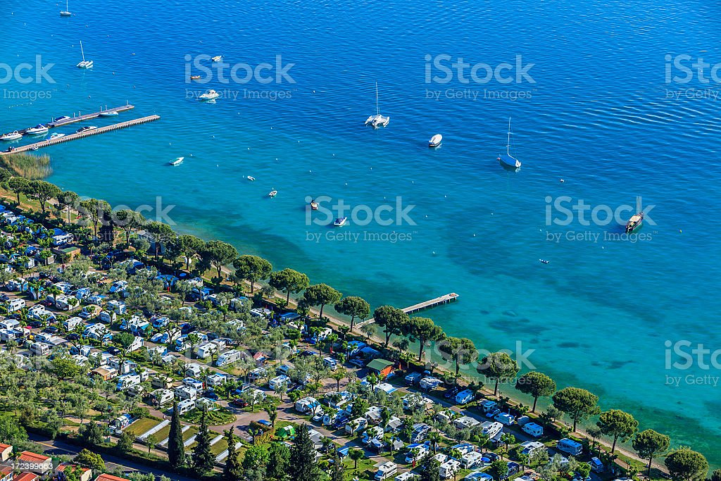 Camping area on Lake Garda, Italy stock photo