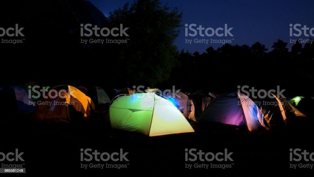 밤에 캠핑 지역 - 로열티 프리 0명 스톡 사진
