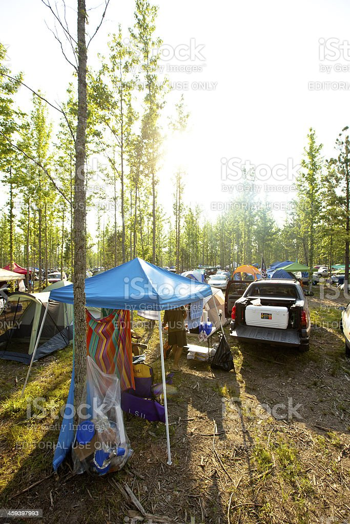 Camping at Bonnaroo stock photo