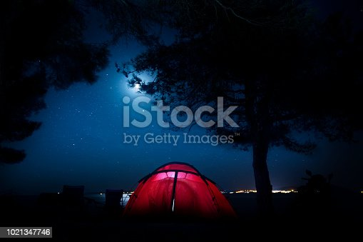 istock camping at night in the lake 1021347746