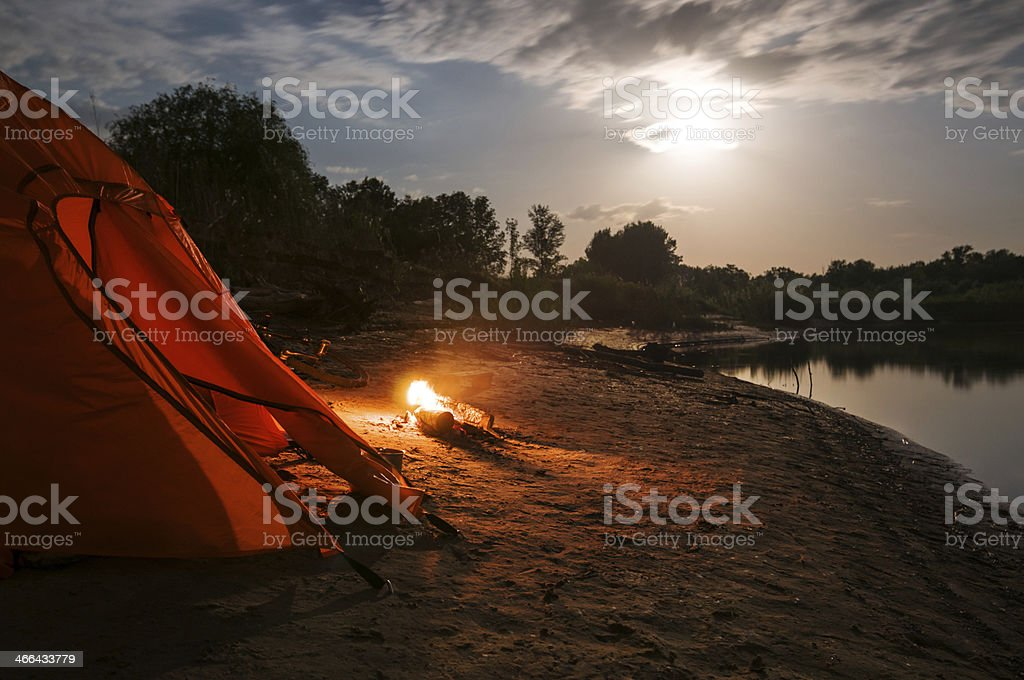 camping at night stock photo