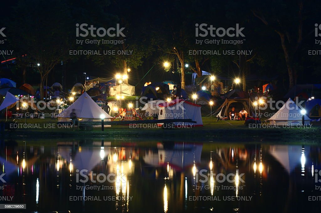 camping at night, Saraburi Province in Thailand. foto royalty-free