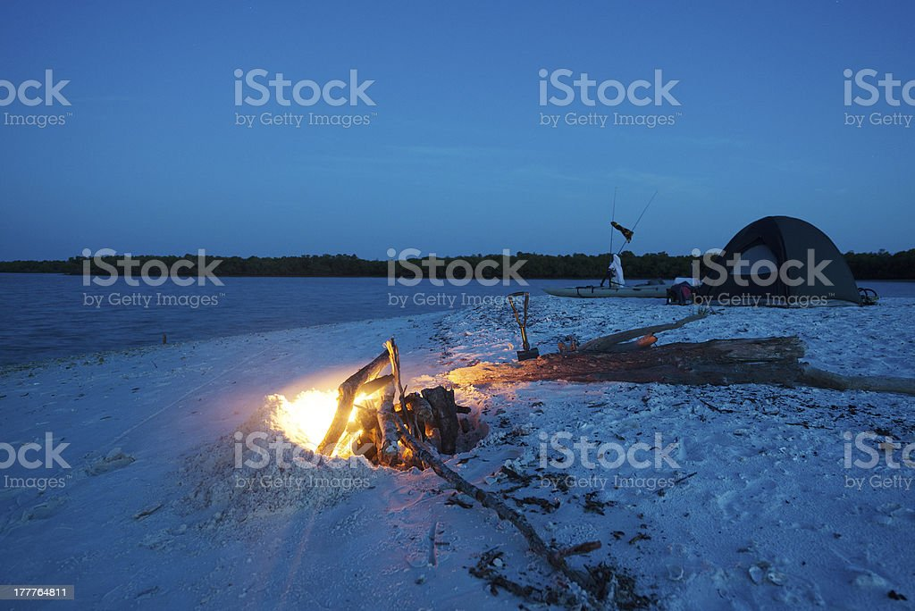 Camping at Night with Fire stock photo