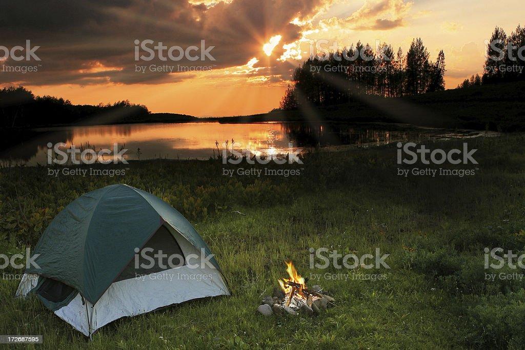 Camping at the Lake royalty-free stock photo