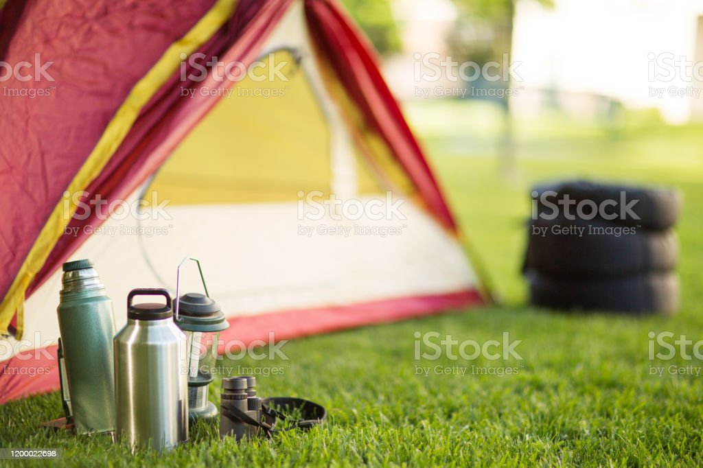 Camping background of a tent with copy space Background of a camping trip with copy space Adventure Stock Photo